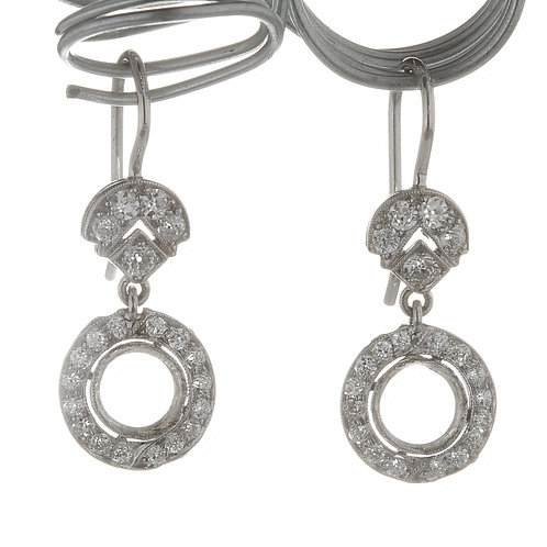 Upcycled antique diamonds earring settings. Platinum. Fit 6mm. From Edwardian.