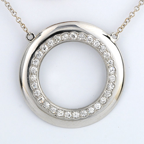 """Upcycled antique diamonds platinum pendant with new 14kt chain. 19.5""""."""