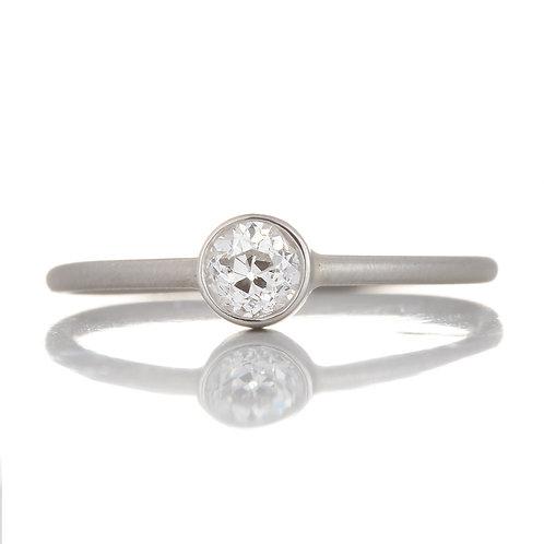 Upcycled antique old European cut diamond engagement ring .29ct. Platinum.
