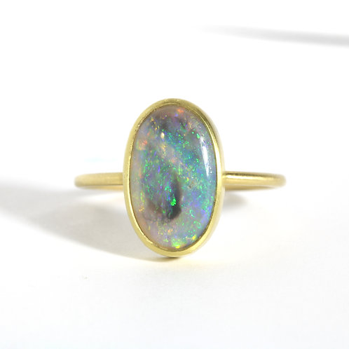 Australian Opal and 18kt yellow gold cocktail ring.
