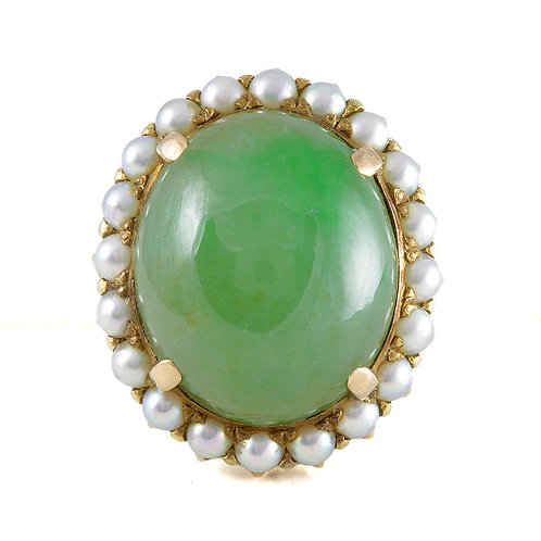 Vintage Jadeite Jade ring. Pearls. 14kt gold. GIA report All natural green.