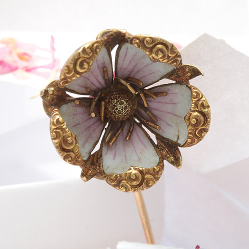 Antique cherry blossom stick pin. 14kt gold. Enamel. Art Nouveau circa 1900.