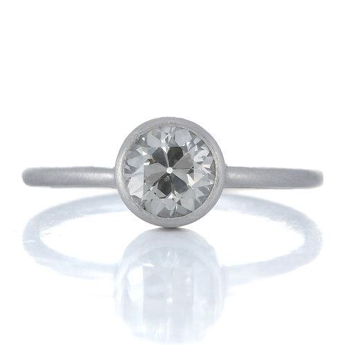 Upcycled Vintage diamond Engagement ring. GIA .76 Fancy Gray old European cut diamond.