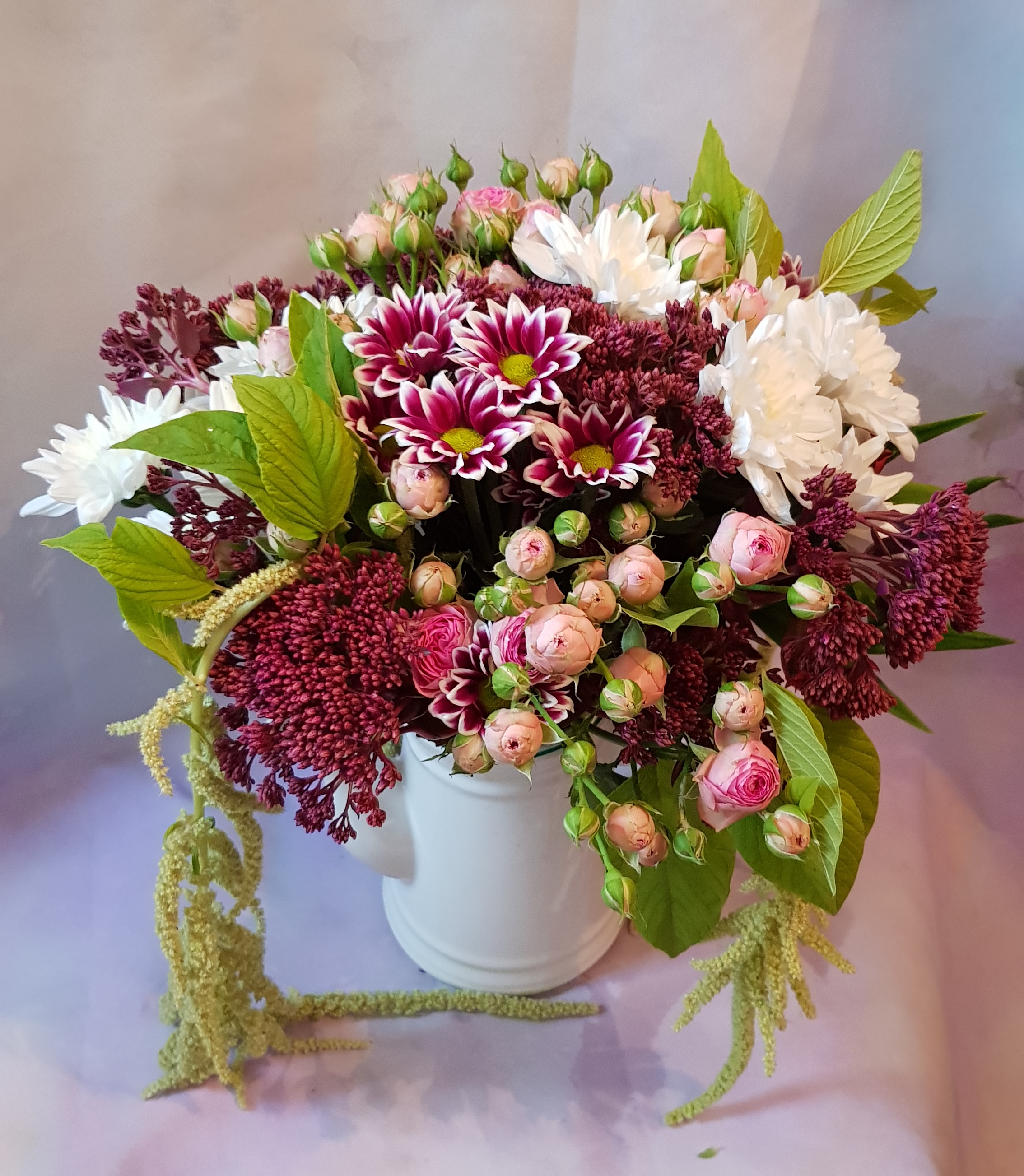 Bouquet rond bordeau