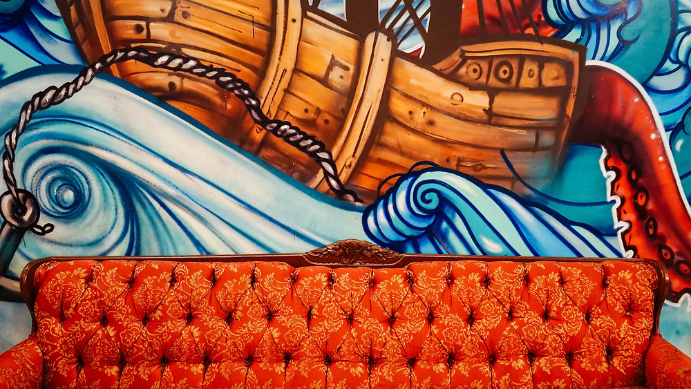 abstract boat, couch, blue, orange