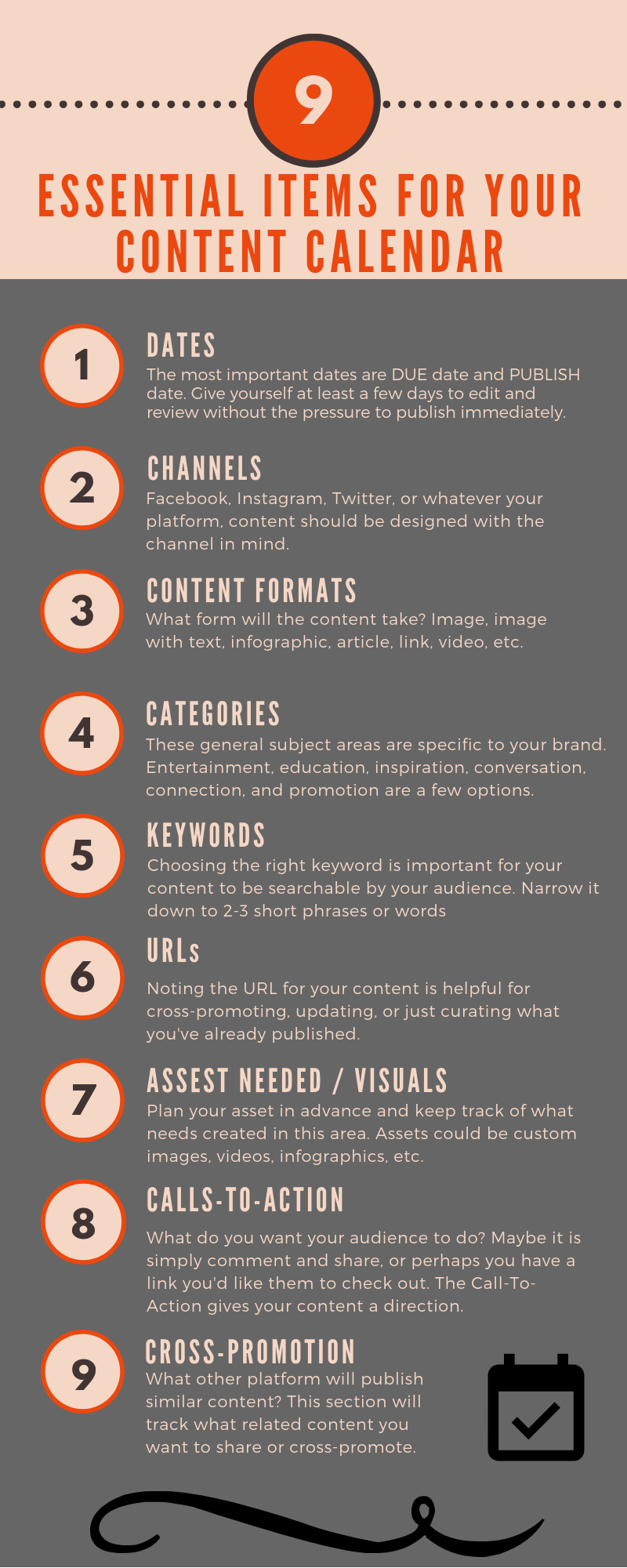 Essential Content Calendar Items infographic