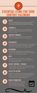 Essential Content Calendar Items infographic