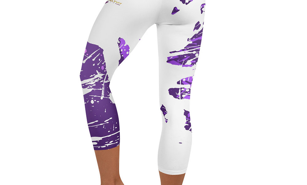 Purple Splash Capri Leggings