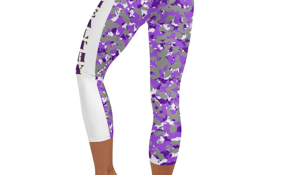 Purple Camo Capri Leggings