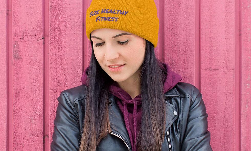 Embroidered Size Healthy Fitness Pom-Pom Beanie