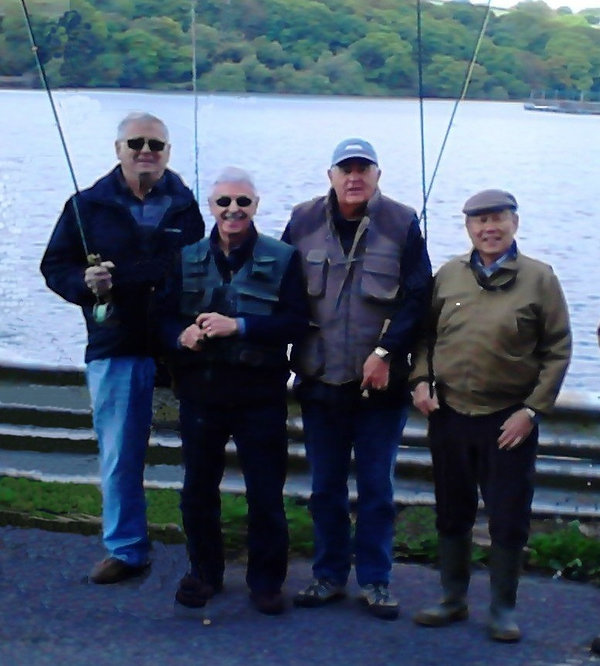Members having a fishing lesson near Carmnarthen