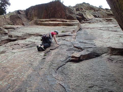 Lead Climbing Calyspo, Eldorado Canyon State Park, Colorado