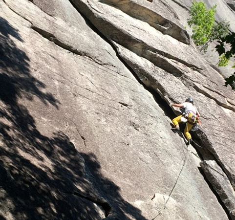 Leading Turner's Flake, Cathedral Ledge, AMGA Rock Instructor Exam
