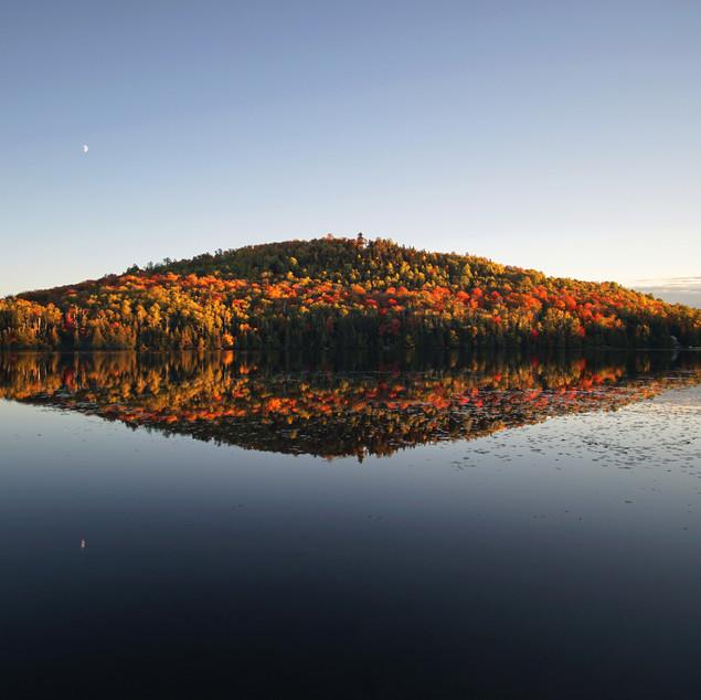 Autumnal mountain & moon reflections