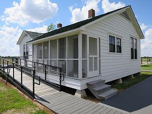 The rear of Johnny Cash's boyhood home