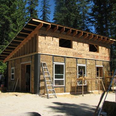 A straw bale cabin