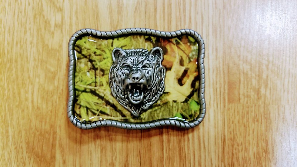 Angry Bear in the Woods Buckle