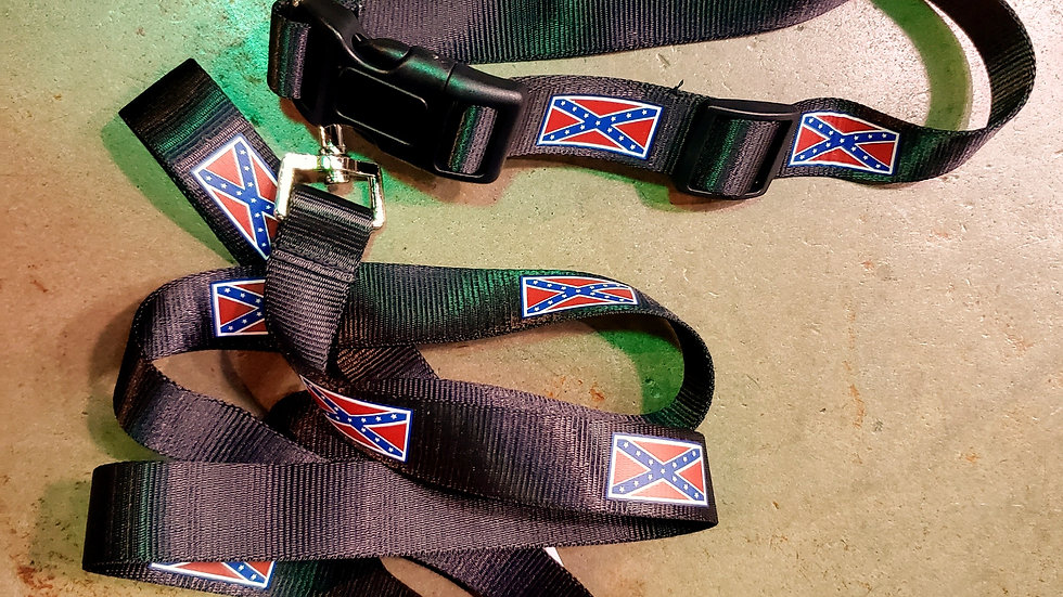 Rebel Flag Leash & Collar Combo