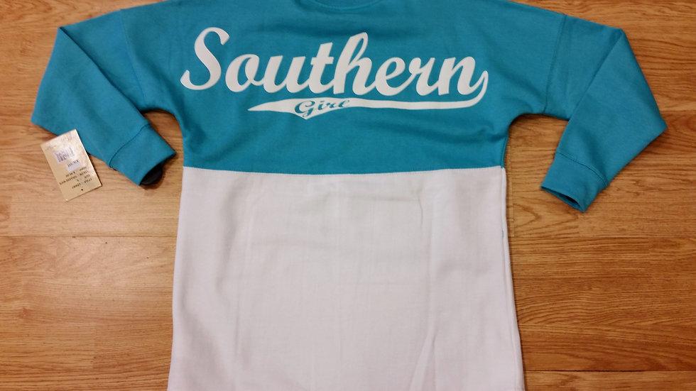 Turquoise & White Varsity Sweatshirt
