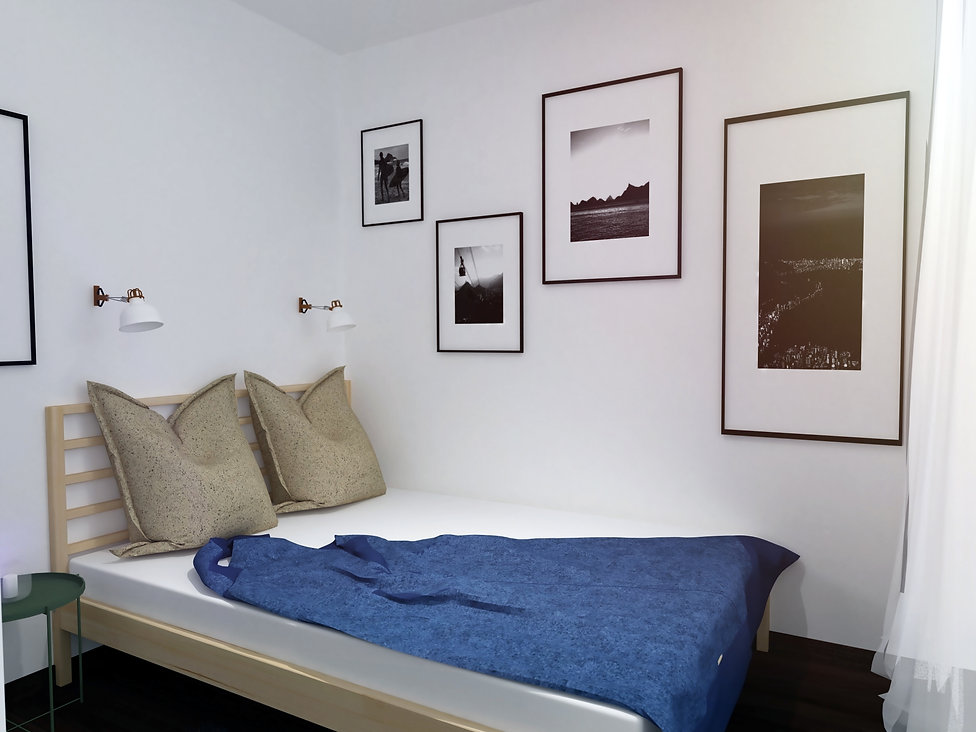 mall apartment, bedroom, spáľňa, spačí kút, storage, úložné priestory, minimalistic, vidiecky minimalizmus, modrá, slnečnice, slovenko, slovak, trees, stromy, krajina, hory, interiér, dizajn, interior dizajn škandinávsky dizajn