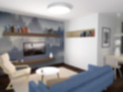 small apartment, z2, z2 architekti, obývačka, sitting room, living room, family room, sofa, gauc, modrá, slnečnice, slovenko, slovak, trees, stromy, krajina, hory, interiér, dizajn, interior dizajn