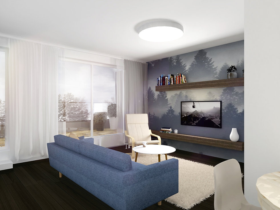 small apartment, obývačka,z2 architekti, z2, sitting room, living room, family room, sofa, gauc, modrá, slnečnice, slovenko, slovak, trees, stromy, krajina, hory, interiér, dizajn, interior dizajn