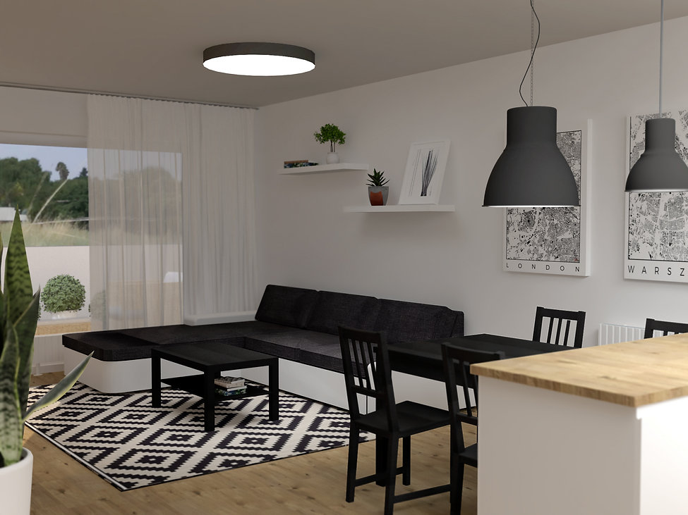 low cost living room, z2 architekti, living room, black and white living room
