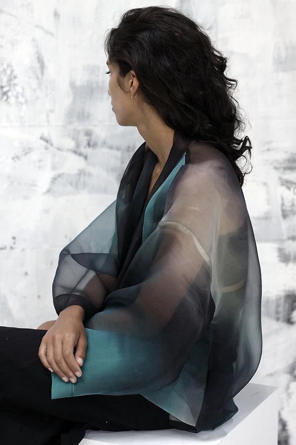 ZATSU silkpainting made in france handpainted silk organza kimono