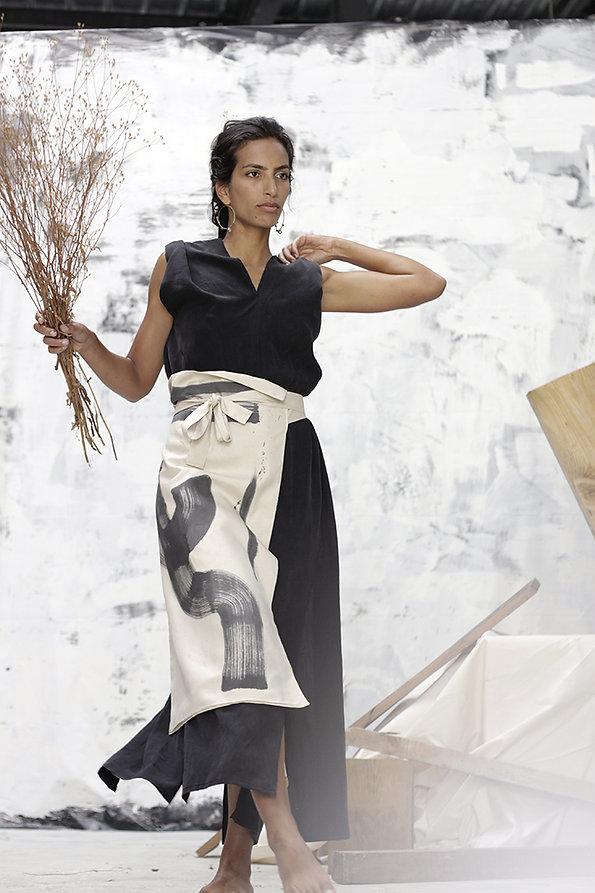 ZATSU silkpainting made in france handpainted silk tencell dress
