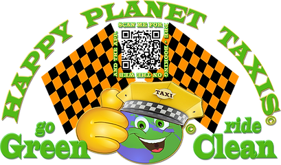 HAPPY PLANET TAXIS GO GREEN RIDE CLEAN