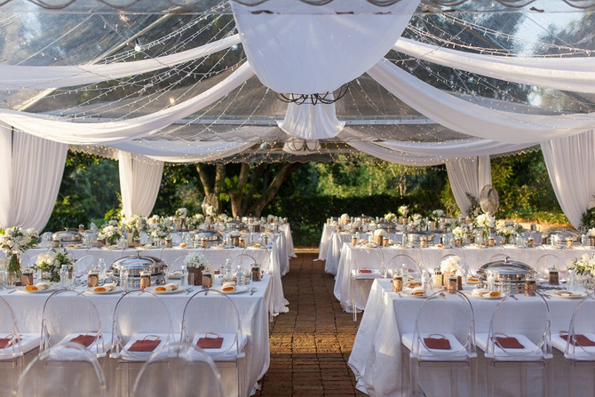 Transparent canopies with ghost chairs