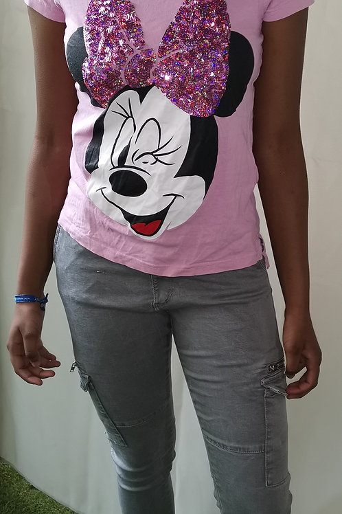 ensemble tee-shirt rose DISNEY+ jean slim ZARA kids