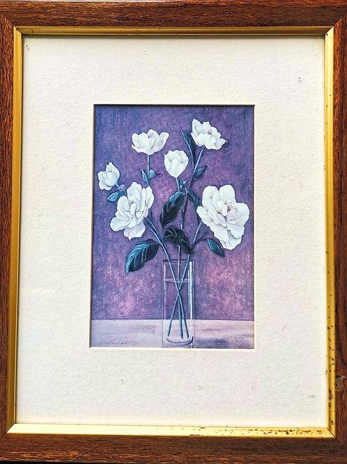 Tableau de décoration floral Roses blanches en vase