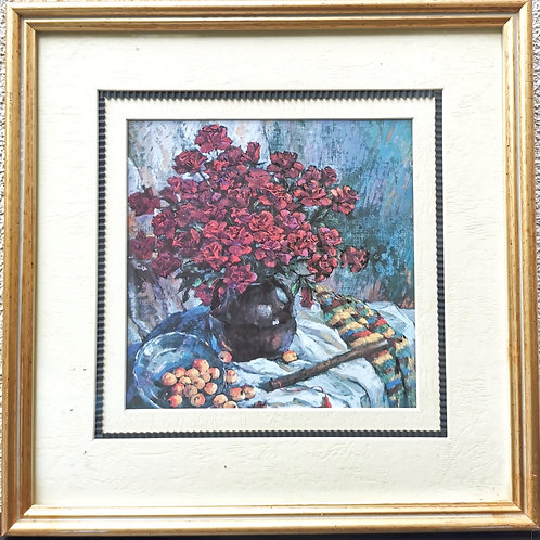 Tableau de décoration Roses, Flûte & Mirabelles