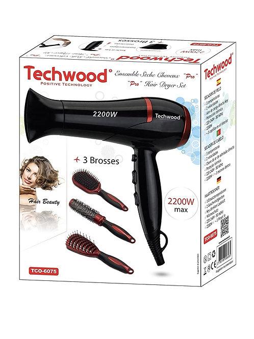 Sèche-cheveux Techwood + 3 brosses