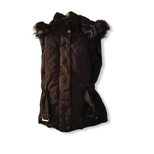 Manteau à capuche matelassée noire pour fille sans manche