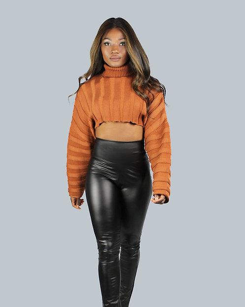 Sofia Cropped Knit Sweater - Copper