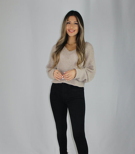 Dina Off The Shoulder Sweater - Cappuccino