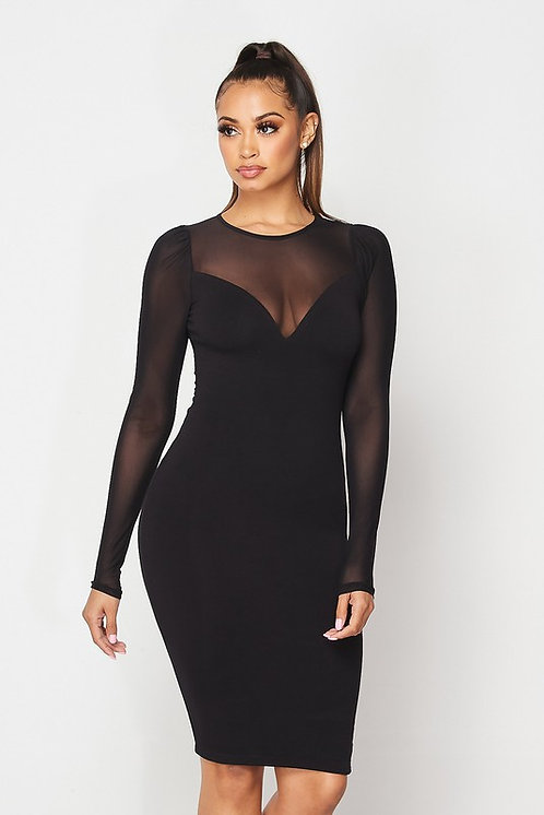 Cindy Long Sleeve Mesh Dress - Black
