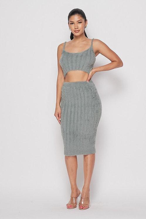 Dominique Fuzzy Skirt Set - Light Olive