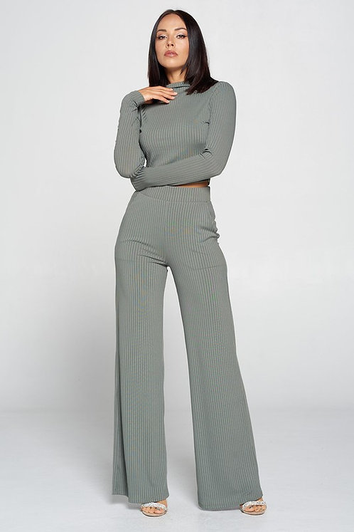 Olivia Long Sleeve Ribbed Set - Olive