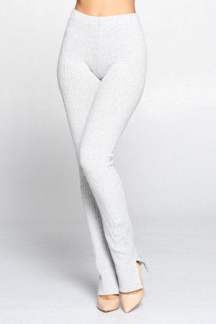 Chantel Ribbed Leggings - Grey