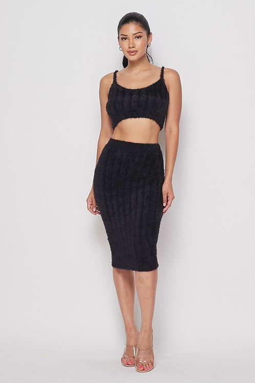 Dominique Fuzzy Skirt Set - Black