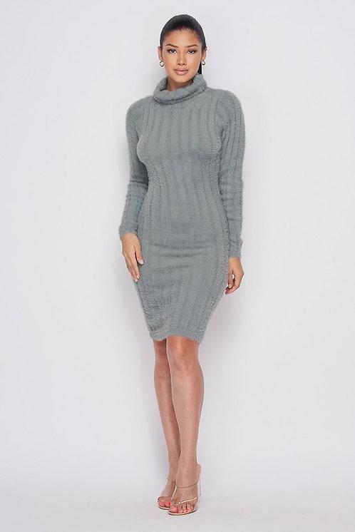 Claire Fuzzy Knit Turtleneck Dress - Light Olive