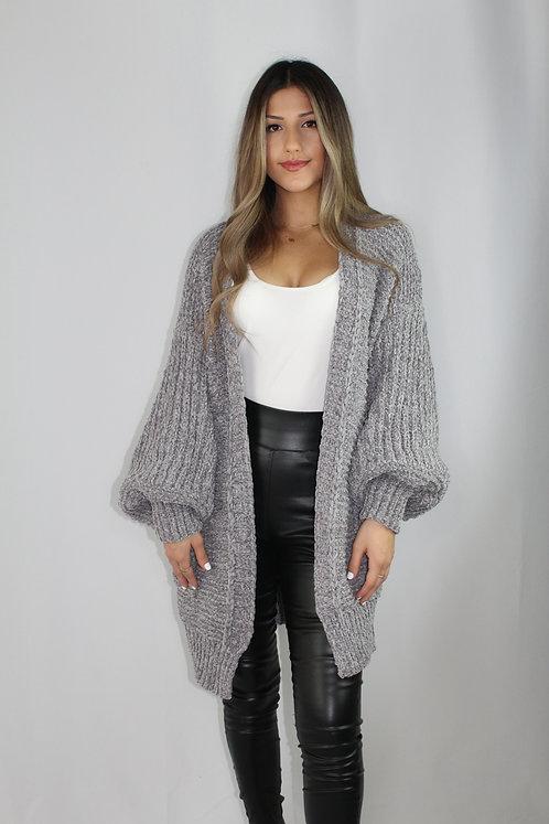 Ella Oversize Chunky Knit Cardigan - Grey