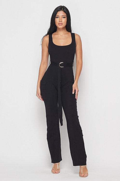 Brittany Belted Jumpsuit - Black