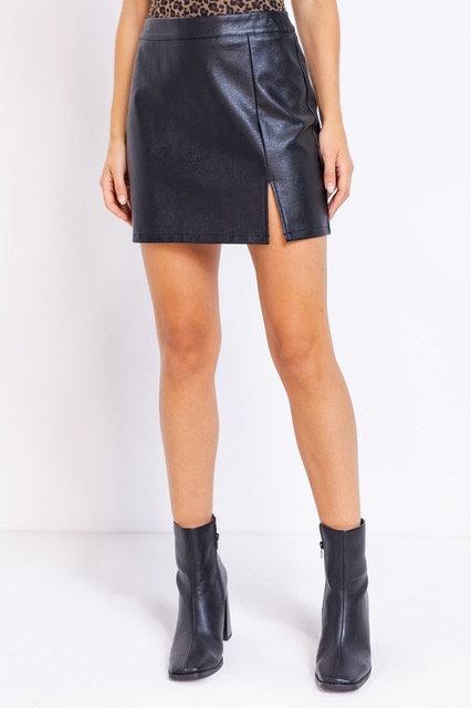Madi Faux Leather Skirt - Black