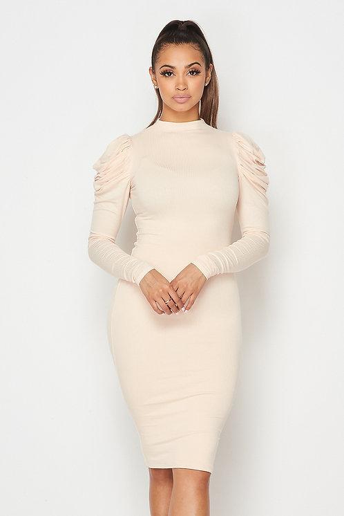 Ashley Puff Sleeve Midi Dress - Blush