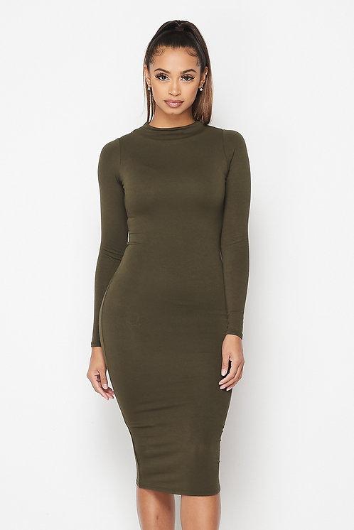 Camila Long Sleeve Midi Dress - Olive