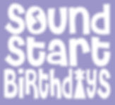 sound start birthdays - purple and white
